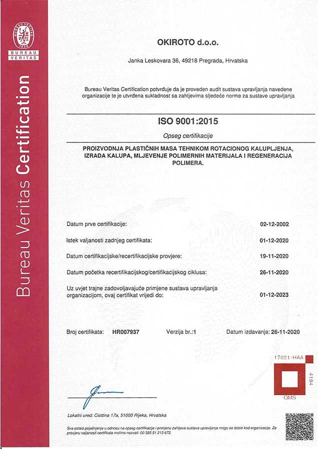 Okiroto Iso Standard 9001 2021
