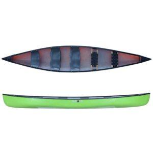 ROTO kanu Canadier 3 plastična, 2 drvena sjedala lime zeleni